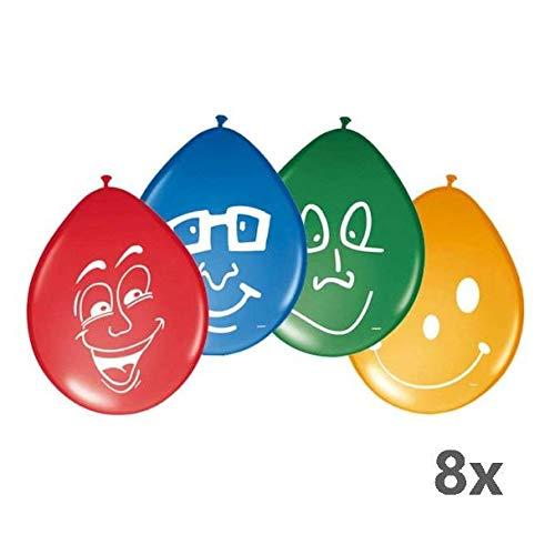8Unidades. Globos 30cm Happy Face