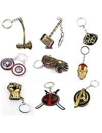 Artique Metal Alloy Marvel Merchandise Avengers Series Thor,Captain America,Iron Man,Hulk,Thanos,Ant Man,Deadpool Keyring (Multi-Color)- Pack of 9