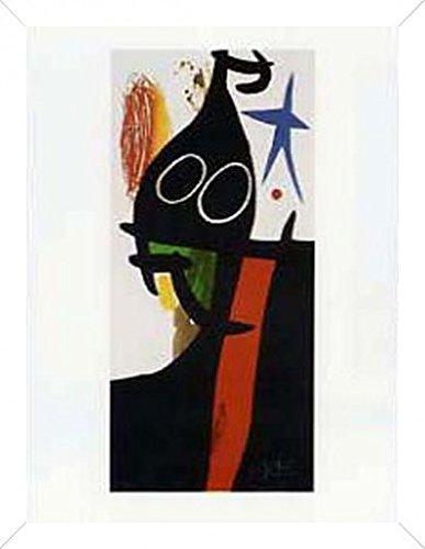 Joan Miró Poster Kunstdruck und MDF-Rahmen Holzoptik Brilliant-Weiß - Der Sarazene Mit Dem Blauen Stern (80 x 60cm)