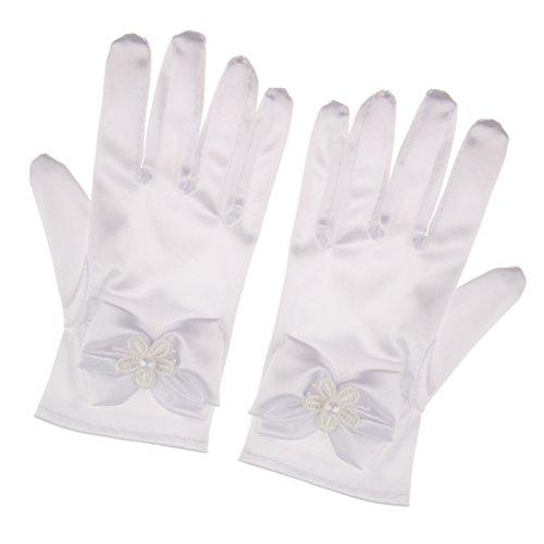 guanti sposa MagiDeal Guanti Corti Fiori Guanti Da Cerimonia Nuziale Occasione Convenzionale - bianca