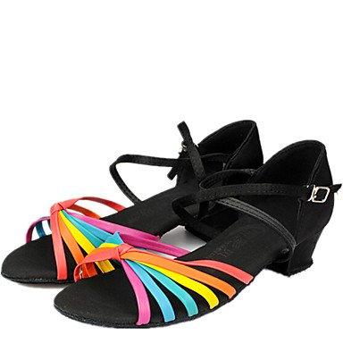 Scarpe da ballo - Non personalizzabile - Per bambini - Balli latino-americani - Quadrato - Raso - Nero Black