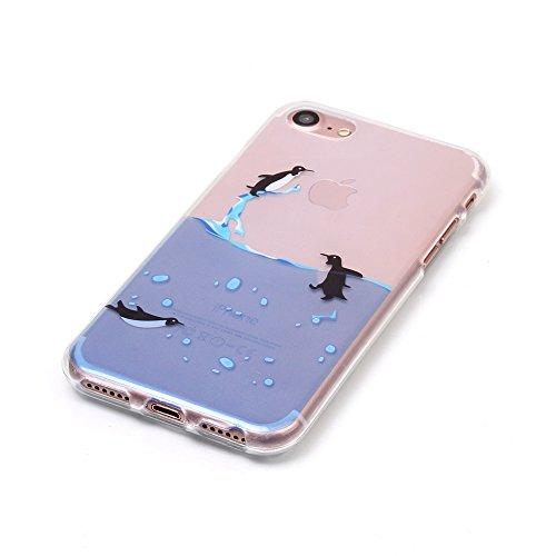 iPhone 7 Hülle,SainCat iPhone 7 Silikon Hülle Tasche Handyhülle Kirsche Muster [Gelbes Gänseblümchen] Schutzhülle Transparent TPU Gel Case Bumper Weiche Crystal Kirstall Clear Silikonhülle Durchsichti Schwimmen Pinguin