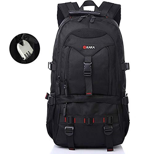 "OKAKA 35L Travel Backpack, Water Resistant Fabric Hiking Rucksack, Thick and Strong Black Laptop Backpack for Outdoor Camping Trekking Tourist (22"")"