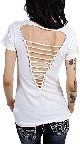 Affliction Frauen Megan Massacre T-Shirt Beige