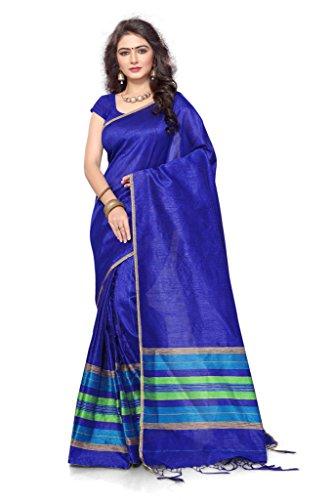 S. Kiran's Women's Royal Blue Artificial Khecha Mekhla Chador - Mekhela Sador