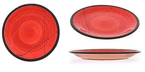 Set 6PCS Keramik Essgeschirr, handgefertigt Runder Teller Anrichten von Dessert, Salat oder Küche–rot 21,8cm (Essgeschirr Platter)