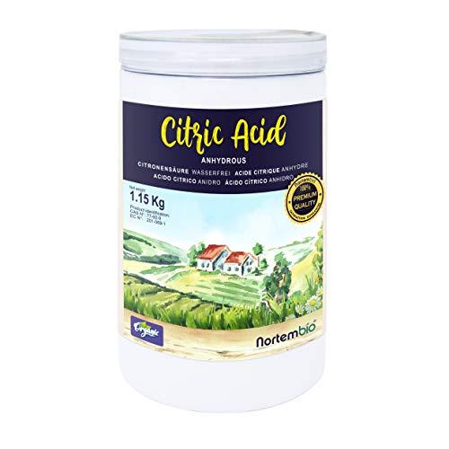 NortemBio Zitronensäure 1,15 Kg. Wasserfreies Citronensäure Pulver, 100% Reine. Für Ökologischen Produktion. E-Book Inklusiv. -