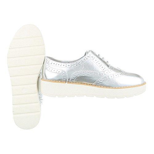 Schnürer Damenschuhe Oxford Schnürer Schnürsenkel Ital-Design Halbschuhe Silber 62025