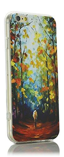 """iProtect coque de protection flexible motif """"Paris Tour Eiffel peinte à l'huile de forêt automnale"""" pour Apple iPhone 6 6s (4,7"""") - Design Art Classique Impressionisme forêt automnale"""