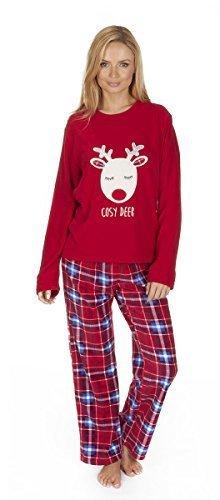 Noël Pour Femmes / Hiver Micro Polaire Renne / Ours Set Pyjama Rouge Cerf