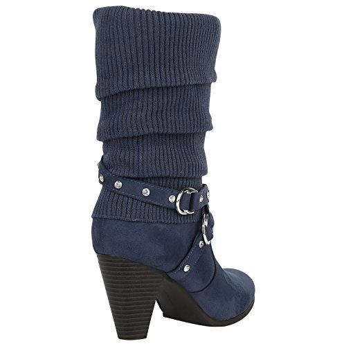 Stiefelparadies Damen Gefütterte Stiefel Schnallen Nieten Stulpen Stiefeletten High Heels Leder-Optik Schuhe Trichterabsatz Boots Flandell Dunkelblau Strass