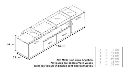 TV Board Lowboard Almada V2, Korpus in Schwarz matt / Front in Schwarz Hochglanz - 3