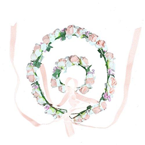 HBF Blumenkranz Handwerk Blumenkrone Stirnband Armband Festival Hochzeit Hand und Haarkranz KIT BOHO Blumenstirnband für Mädchen Brautjungfer