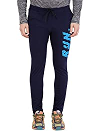 American-Elm Nevy Blue Stylish Printed Joggers for Men