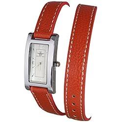 Damen Armband Armbanduhr Double Tour Leder weiß Michael John