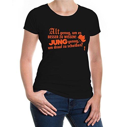 buXsbaum® Girlie T-Shirt Alt genug, um es besser zu wissen Black-Orange