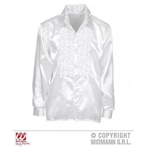 Lively Moments Rüschenhemd in weiß / Diskohemd / Herrenhemd / Satinhemd / 70er Jahre Kostüm Gr. M/L