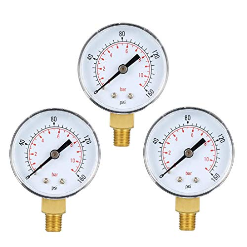 ZCHXD Bottom Mount Pressure Gauge, 0-160 psi/bar Dual Scale, 2