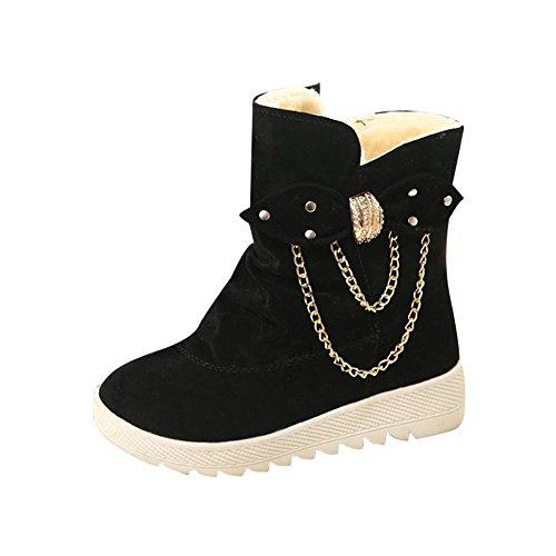 chaussures femme Manadlian Bottes Bottines Femme Boots Bottes Hiver des Bottes de Femmes de Mode des Bow Bottes de Neige Chaussures de Mouton Plat Bottes