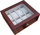 Uhrenbox für 8 Uhren Holz Kirsche verschließbar Sichtfenster Uhrenschatulle