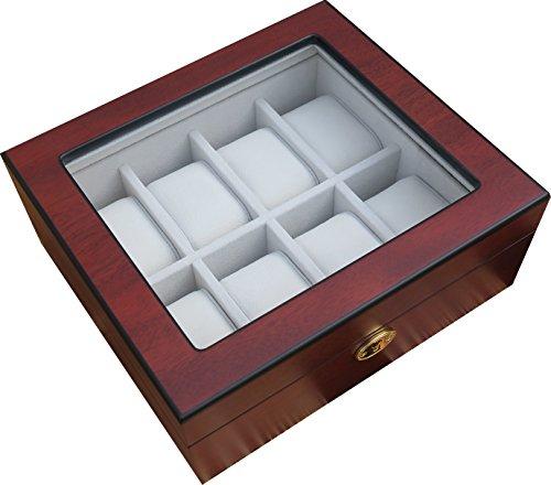 Uhrenbox für 8 Uhren Holz Kirsche verschließbar Sichtfenster Uhrenschatulle (Holz Cartier)