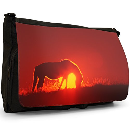 Fancy A Bag Borsa Messenger nero Cowboy On Horse Silhouette Of A Wild Horse At Sunrise