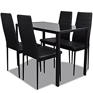 41APfqcmCML. SS300  - vidaXL Contemporary Dining Set with Table and 4 Chairs Black Kitchen Furniture