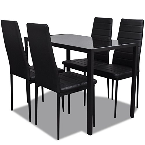 41APfqcmCML. SS500  - vidaXL Contemporary Dining Set with Table and 4 Chairs Black Kitchen Furniture