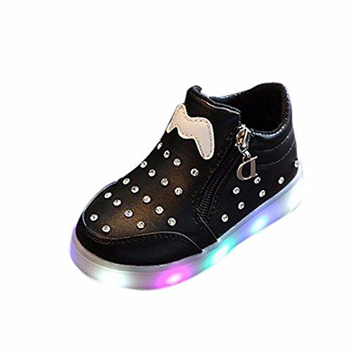 TPulling Mode Sommer Und Frühling﹛1T-6T﹜Kinder Mode Mädchen Jungen﹛Leuchtend LED Rutschfeste﹜Sport Lichter Blinkende Weichen Boden Tanzschuhe Schuhe Turnschuhe Lässige Schuhe (Schwarz, 23=EU:22) (22 Boden)