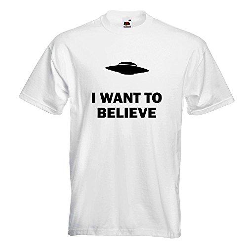 KIWISTAR - I want to believe UFO T-Shirt in 15 verschiedenen Farben - Herren Funshirt bedruckt Design Sprüche Spruch Motive Oberteil Baumwolle Print Größe S M L XL XXL Weiß