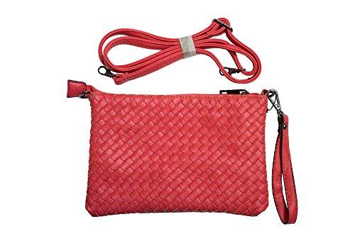 Cavoir Bag VALENTINA - Clutch - Frauen-/Damentasche aus Leder - Handtasche/ Schultertasche/ Umhängetasche - Gelb/Grün/Rot/Blau- H:16cm, B:4cm,L:24cm Rot
