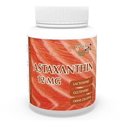 Vita World Astaxanthin 12mg 60 Vegetarian Capsules production Haematococcus pluvialis Made in Germany