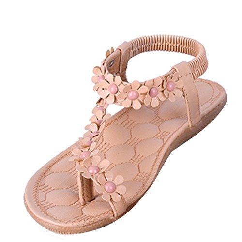 Minetome Ladies Summer Bohemia Fiori Grano Flip Flop Scarpe Sandali Piatti Flat Toe Rosa