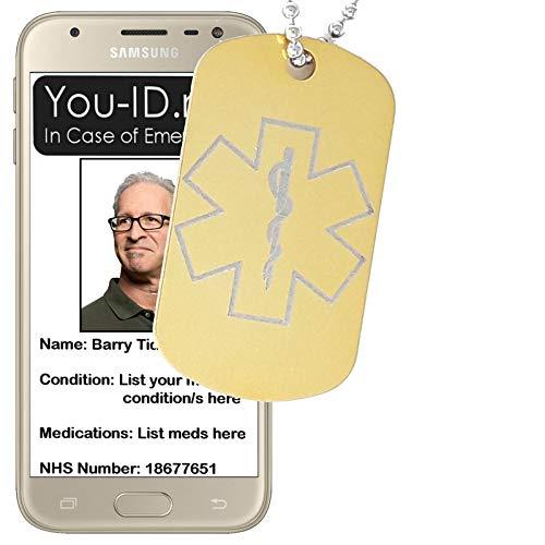 Ic-telefon (You ID Me Halskette mit Anhänger Epilepsie Gold Aluminium medizinischer Alarmanlage Unisex Notfall-Identitätsmeldung mit IC-Kontakt-Info-Benachrichtigungen Next of Kin Telefon SMS* Updatable SOS Ice)