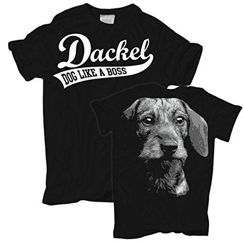 Männer und Herren T-Shirt Dackel BOSS (mit Rückendruck) Schwarz
