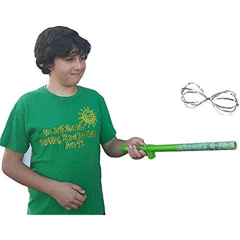 Fun Games-Fly-Stick-Bacchetta magica, colore: verde con doppia