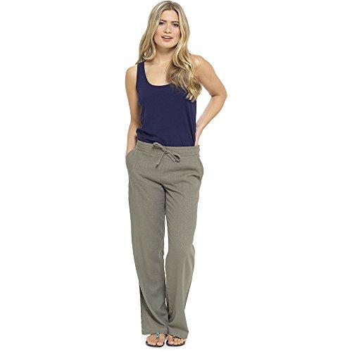 CityComfort Damen Leinen Freizeithosen Urlaub elastische Taille Damen Sommer Hosen Hosen Shorts beschnitten mit Taschen (12, Khaki voller Länge)