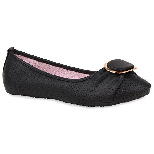 Damen Ballerinas Lack Slipper Flats Schuhe Lederoptik Schwarz Lochung