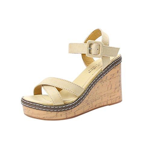 Uomogo® eleganti estivi sandali donna con zeppa sandali tacco basso infradito donna eleganti sandali scarpe (asia 36, rosso)