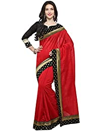 Valentine Gifts For Wife Elegant Red Banarasi Dot Laced Saree With Unstitched Blouse ( Candy Apple Red )