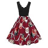 Weihnachten Kleid,Marlene Damenmode ärmellose V-Ausschnitt Weihnachten Katzen Print Vintage Flare Swing Dress