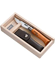 Opinel-Messer, Größe 8, nicht rostfrei, Etui, in Holzbox