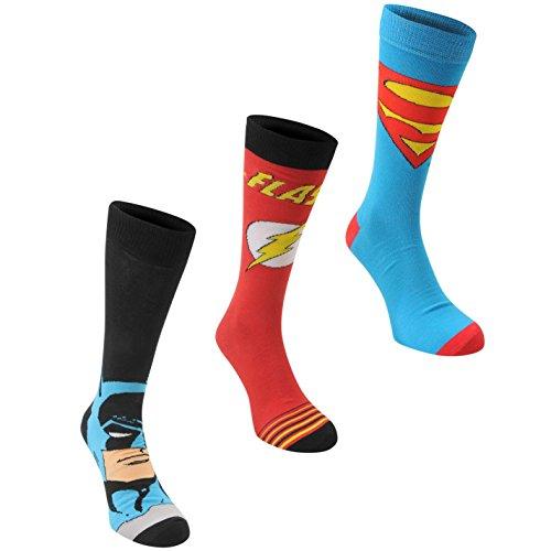 3 Paar DC Comics Herren Socken Struempfe Verschiedene Motive Superheld Multi Mens 7-11