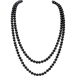 "BABEYOND Perla de Imitación Flapper Collar Largo de Perla Artificial Vintage 55"" Diámetro de Perla 0.315"" Negro"