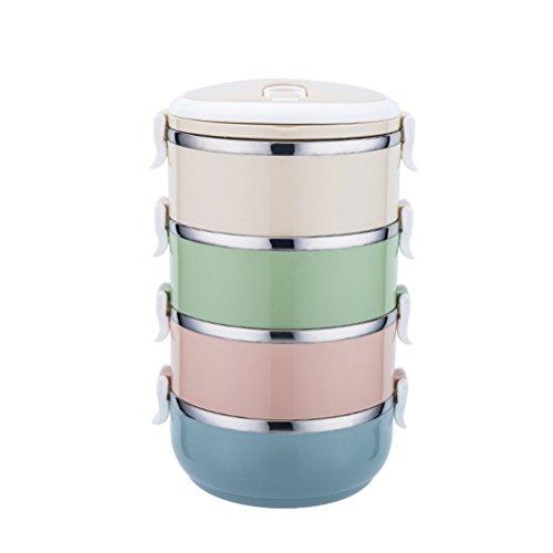 Mehrschichtige Isolierung (OUNONA Tragbare Lunchbox Edelstahl mehrschichtige Isolierung Brotdose Bento Box mit vier Schichte)