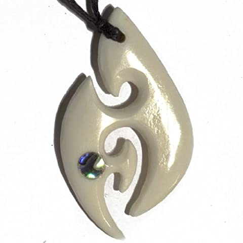 Abalone Paua Bone Fish Hook Surfer Necklace With Seashell Inlay - Genuine Bovinae Family Bone Art