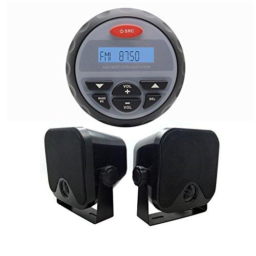 étanche Marine Jauge Bluetooth Audio Stéréo pour moto ATV Bateau de radio FM AM récepteur RZR RV de voiture + 10,2 cm Heavy Duty Marine Box haut-parleurs