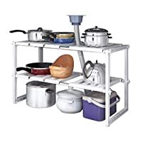2 Tiers Expandable Kitchen Storage Multi-Functional Rack Adjustable Stainless Steel Under Sink Organizer Storage Shelf Cabinet