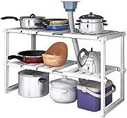 2 Tiers Expandable Kitchen Storage Multi-Functional Rack Adjustable Stainless Steel Under Sink Organizer Stora