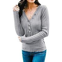 TEELONG Bluse Damen Freizeit Long Sleeve V-Ausschnitt Solid Button Bluse Tops T ShirtSweatshirt Longpullover Pulli Strickpullover Winterjacke Kapuze